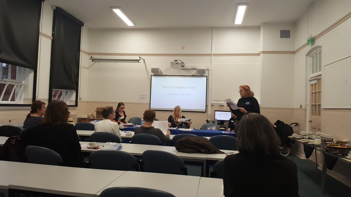 Jennie Bailey leads a panel on Women in Crewe featuring Councillor Marilyn Houston, Mayor of crewe, Cllr Pam Minshall and Hannah Marr, Crewe town Council Community Engagement Officer.