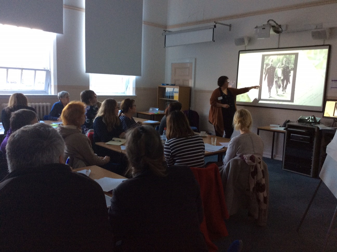 Joanne Selley and Angi Holden led a creative writing workshop on suffragette images